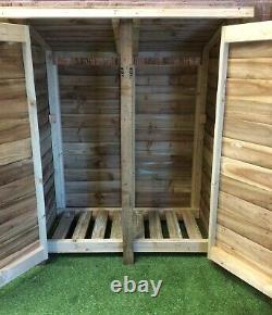 Gidleigh 5ft Wide Outdoor Wooden Log Store Disponible Avec Toit Inversé