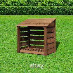 Greetham 4ft Outdoor Wooden Log Store Clearance Stock Uk Fabriqué À La Main