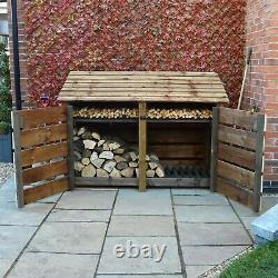 Hambleton 4ft Outdoor Wooden Log Store Également Disponible Avec Portes- Uk Hand Made