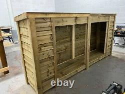 Heavy Duty Large 8ft Wooden Log Store (disponible Avec Portes)