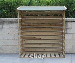 Jardin Wooden Log Store Shed Double Wheelie Bin Garbage Dustbin Storage Cover