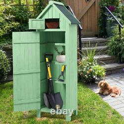 Lockable Wooden Outdoor Garden Shed Log Lawn Tower Tool Store Armoire Unit House