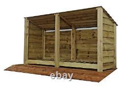 Magasin Extérieur En Bois De Notation, Hangar De Stockage De Bois De Feu (w-227cm, H-126cm, D-81cm) Vente