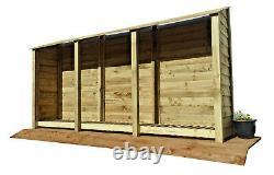 Magasin Extérieur En Bois De Notation, Hangar De Stockage De Bois De Feu (w-335cm, H-180cm, D-81cm) Vente