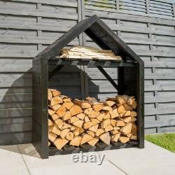 Rowlinson Black Apex Wooden Log Wood Store Kindling Shelf Garden Storage