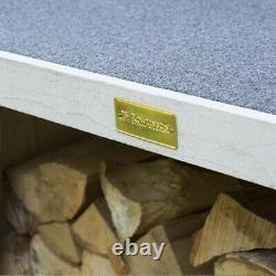 Rowlinson Heritage Grey Wooden Log Wood Store Jardin Entreposage