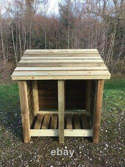 Thornworthy 4 Ft Wide Double Bay Wooden Log Store