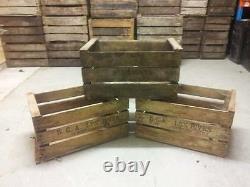 Vintage Buoden Apple Fruit Crates X 3 Magasin De Bois De Magasin De Bois Brûleur De Bois